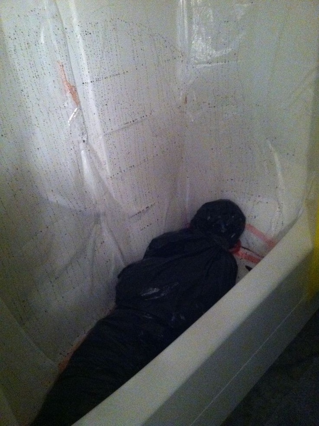 Halloween Wedding Ideas Body Bag In The Bathtub