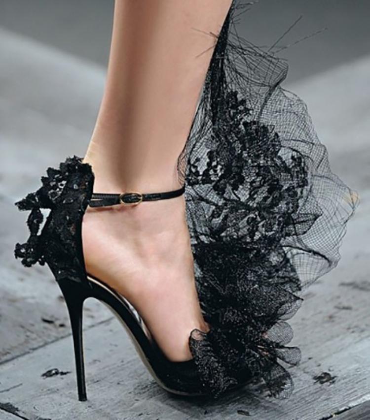 Black Halloween Wedding High Heel Shoes