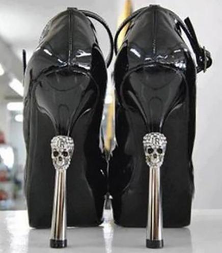 Halloween Wedding Ideas High Heels Diamond Skulls Shoes