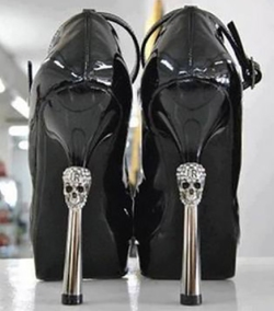 Halloween Wedding Ideas High Heels Diamond Skulls Shoes