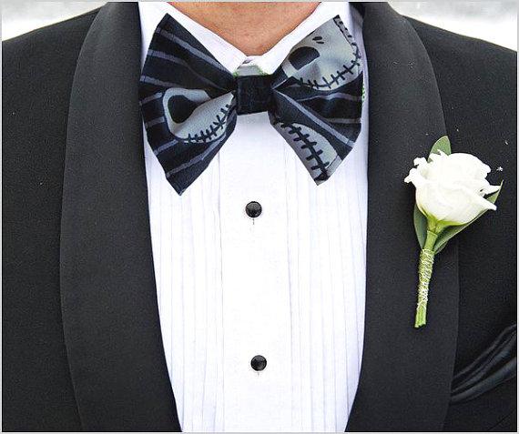 Jack Skellington Black Halloween Wedding Bow Tie