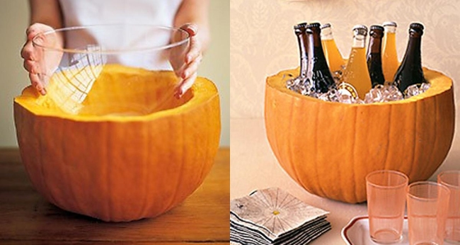 Halloween Wedding Ideas Pumpkin Beer Cooler