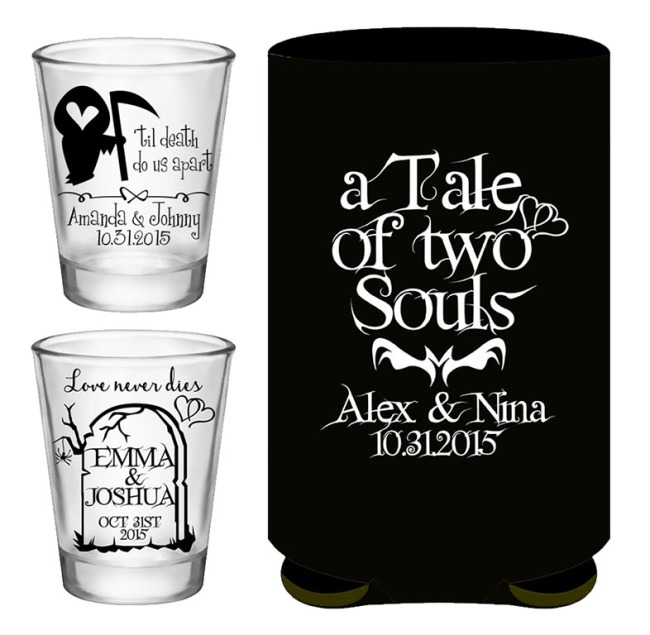 Halloween Wedding Ideas Shot Glasses Can Coolers