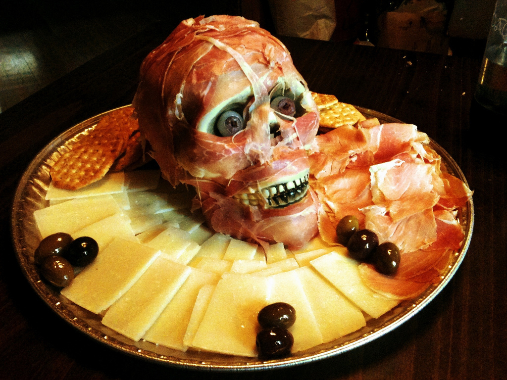 Haloween Wedding Ideas Food Prosciutto Meathead and Cheese Platter