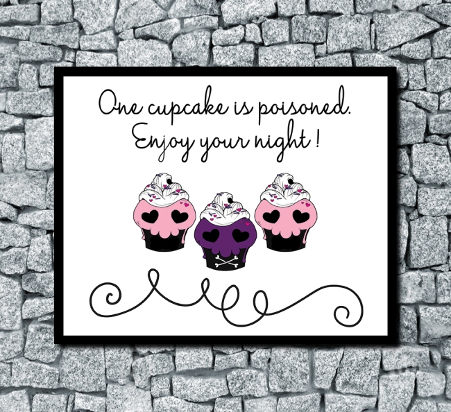 One Cupcake Is Poisoned Horizontal Digital Wedding Print White Sample