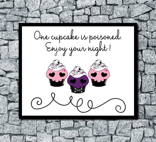 One Cupcake Is Poisoned Horizontal Digital Halloween Wedding Print White Sample