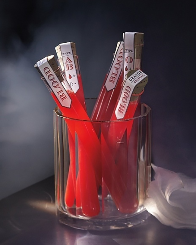Halloween Wedding Cocktail Ideas - Blood Vials