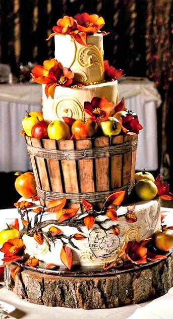 Apple Fall Apple-Themed Wedding Cake Ideas