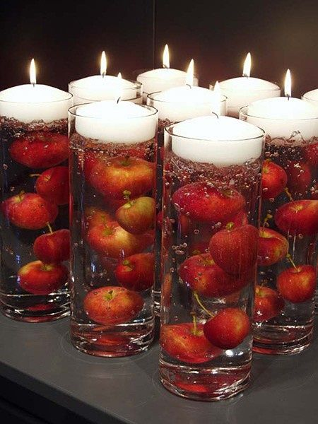 Apple Floating Candle Centerpiece Fall Wedding Decoration Ideas