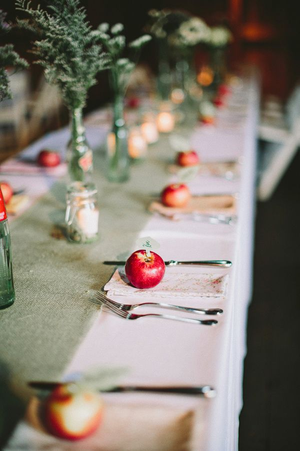 Place card apple holder fall wedding ideas hudson valley wedding