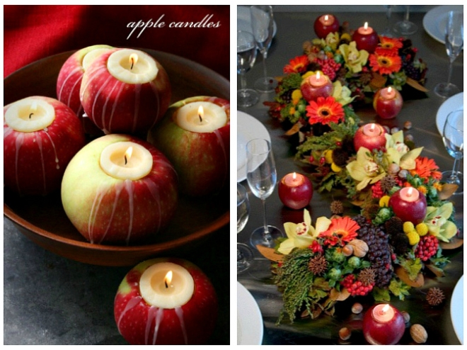 Apples Candles Autumn Apple-Themed Wedding Idea