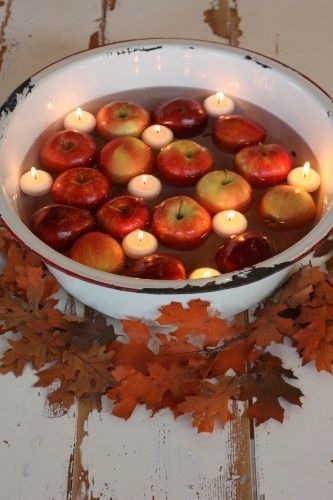 Apples Candles In A Tub Autumn Apple-Themed Wedding Idea