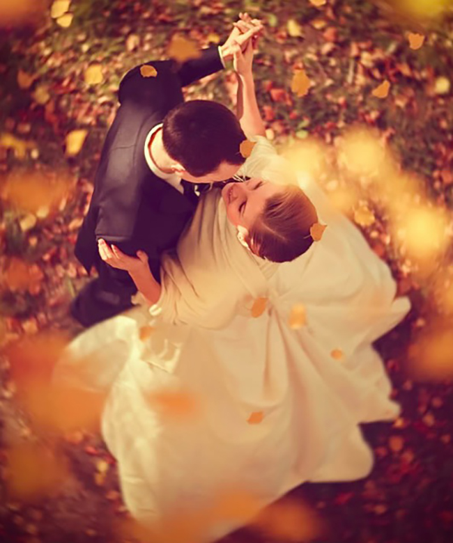 Bride and Groom Dancing Fall Wedding Foliage