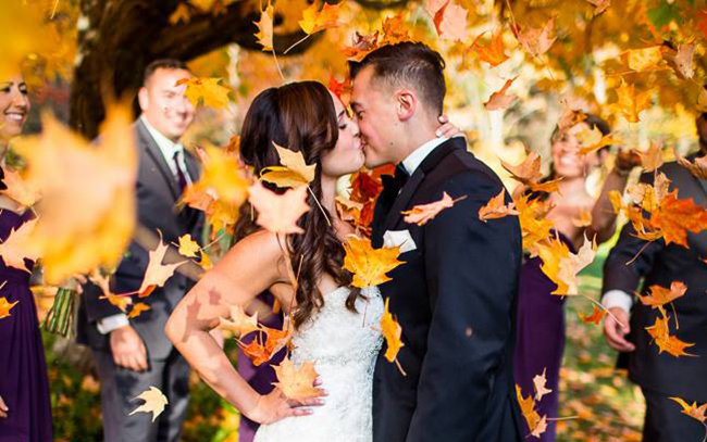 Bride and Groom Fall Wedding Foliage-2