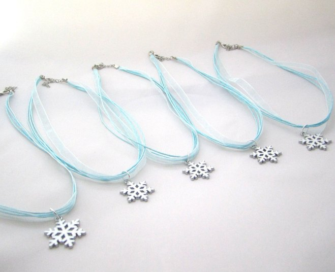 Bridesmaids Snowflake Necklace Winter Wedding Keepsake