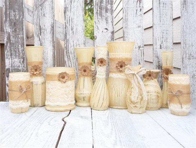 Burlap and Lace Vases Decoration Fall Wedding Idea