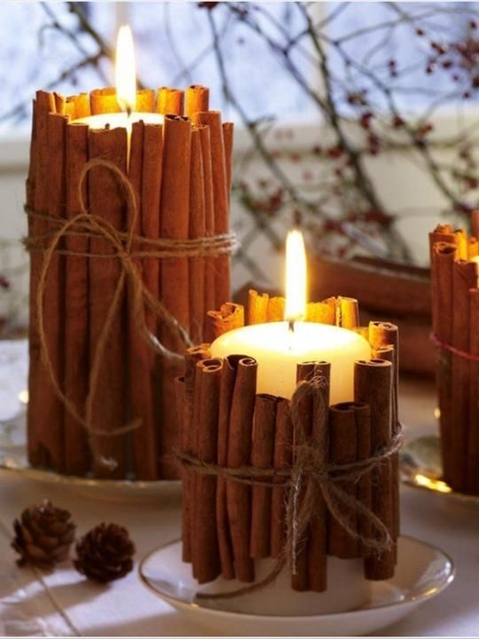 Cinnamon Candles DIY Fall Wedding Idea