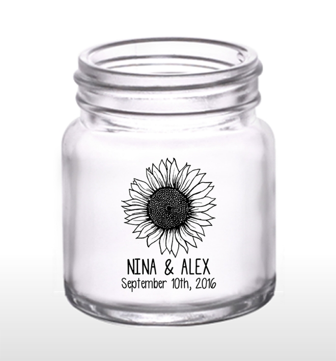 Country Sunflower 2oz Mason Jar Shot Glasses