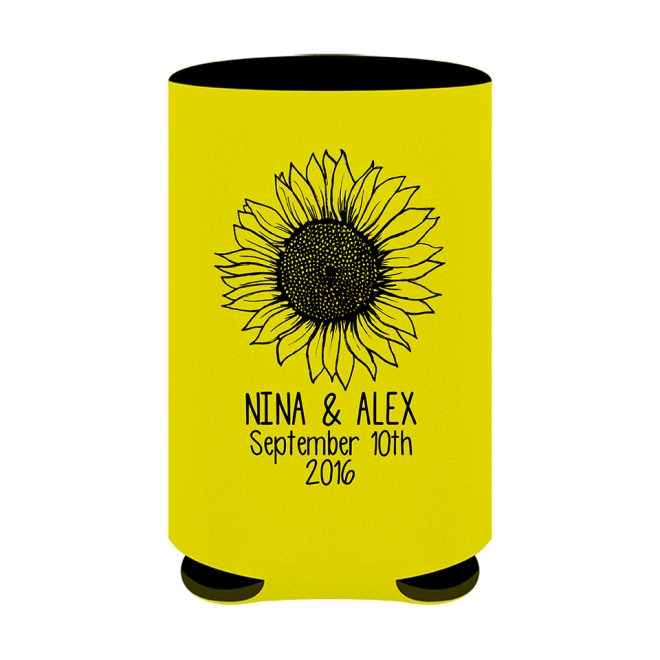 Country Sunflower Custom Beer Can Koozie