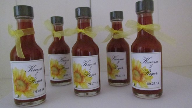 Custom Hot Sauce with Sunflower Print Wedding Ideas