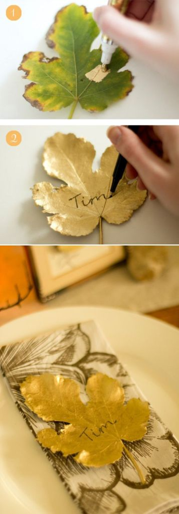 DIY Golden Leaves Place Card Fall Wedding Idea