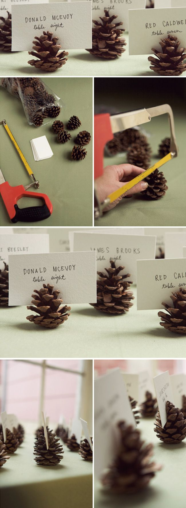 DIY Pinecones Place Card Fall Wedding Idea
