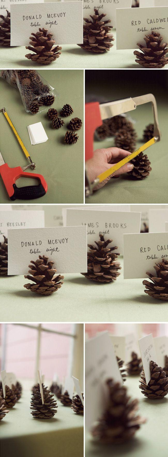 DIY Pinecones Place Card Fall Wedding Idea