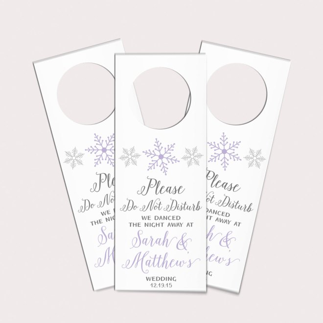 Do Not Disturb Door Hangers Winter Wedding Favors