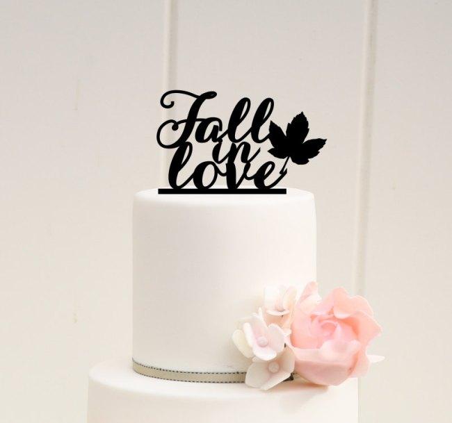 Fall In Love Autumn Wedding Cake Topper Idea