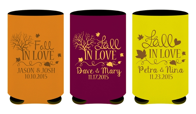Fall In Love Wedding Beer Can Koozies Favors