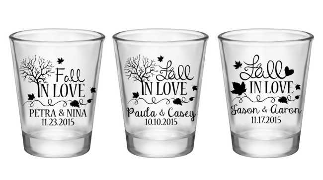 Fall In Love Wedding Shot Glasses Favors