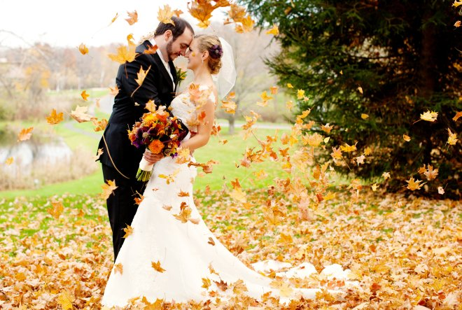 Fall Wedding Bride and Groom Backdrop Photo