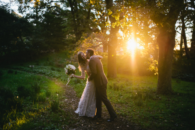 Fall Wedding Bride and Groom Light Photo