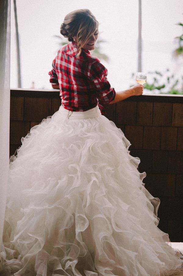 Fall Wedding Dress Plaid Shirt Cover Up Idea
