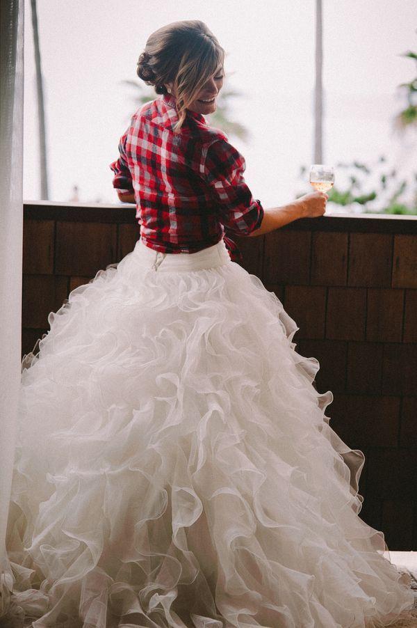 Fall Wedding Dress Plaid Shirt Cover Up Idea