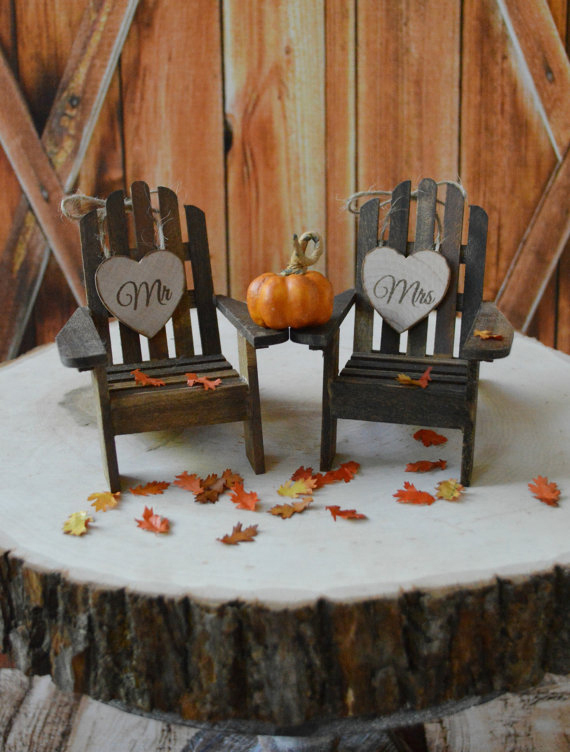 Fall Wedding Wood Chairs Cake-Topper Pumpkin Autumn Leaves