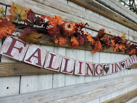 Falling in Love Banner Rustic for Autumn Wedding