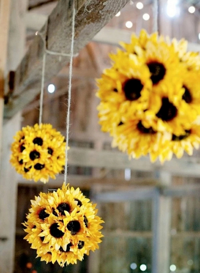 Hanging Sunflower Pomanders Wedding Ideas