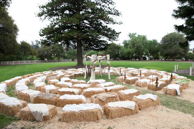 Hay Bale Decoration Fall Wedding Idea
