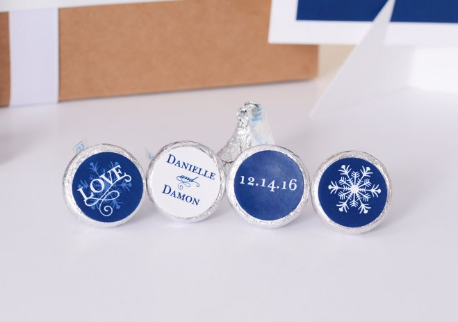 Hershey's Kisses Bottom Stickers Winter Wedding Favors