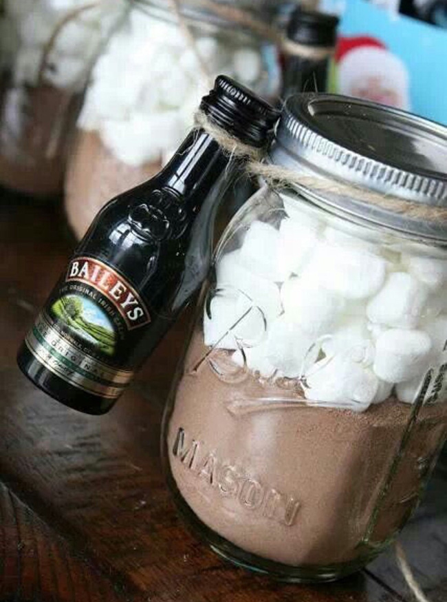 Hot Chocolate Baileys Mason Jar Winter Wedding Favors