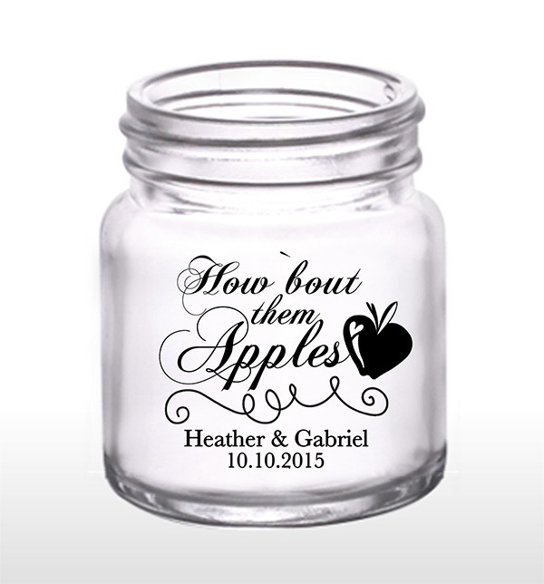 How 'Bout Them Apples 2oz Mini Mason Shot Glasses Apple-Themed Wedding