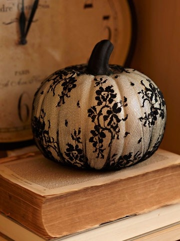 Lace Pumpkin Decoration Fall Pumpkin Themed Wedding Idea