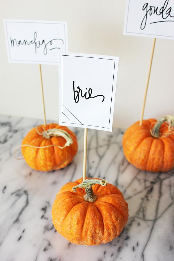 Mini Pumpkin Food Markers Fall Pumpkin Themed Wedding Idea