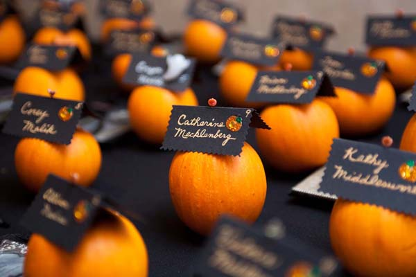 Mini Pumpkin Place Card Holders - Fall Pumpkin Themed Wedding Idea