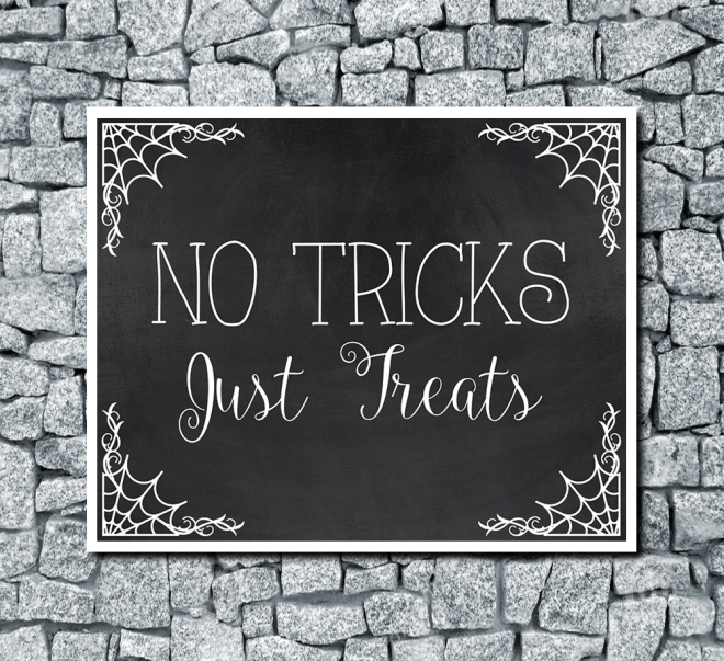 No Tricks Just Treats Digital Halloween Wedding Print Chalkboard Background