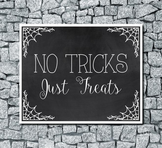 No Tricks Just Treats Digital Halloween Wedding Print Chalkboard Background