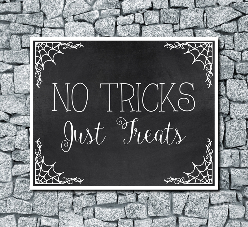 No Tricks Just Treats Digital Wedding Print Chalkboard Background