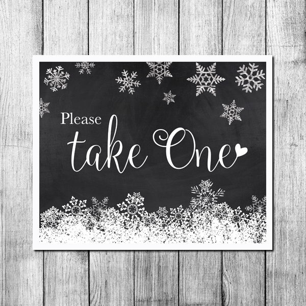 Please Take One Snowflakes Winter Horizontal-Digital Wedding Print Chalkboard Sample