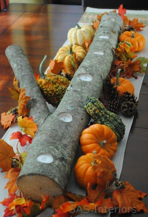 Pumpkin and Tree Branch Centerpiece Decoration Fall Pumpkin Themed Wedding Idea